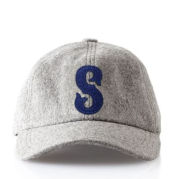 Wool Initial Baseball Ball Cap, Gray, S