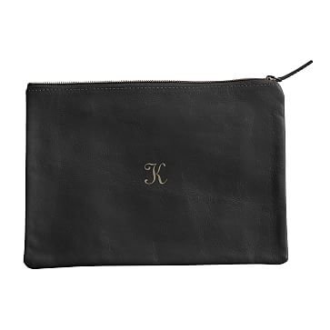 Everyday Leather Zip Pouch, Center Monogram, Black