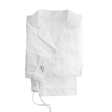 Classic Woven Women's Pajamas, White with Seersucker, Extra Large