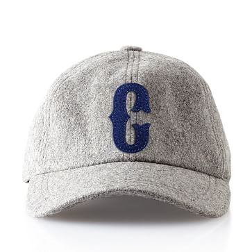 Wool Initial Baseball Ball Cap, Gray, C