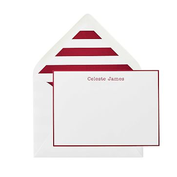 S/50 Letterpress Stationery, Red, Stripe Liner, Personalized