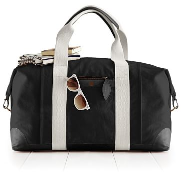 Canvas with Leather Weekender Bag, Black