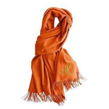Alpaca Solid Scarf Wrap with Fringe, Orange