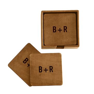 Set of 6 Rustic Leather Boxed Coasters