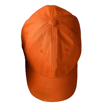 Adjustable Twill Baseball Hat with Patch, A, Orange with Navy