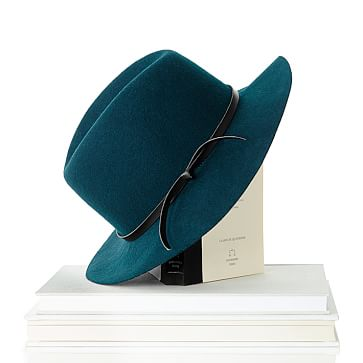 Wool Fedora Hat, Size Large, Emerald