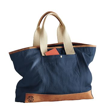 Canvas and Leather Tote, Navy and Brown