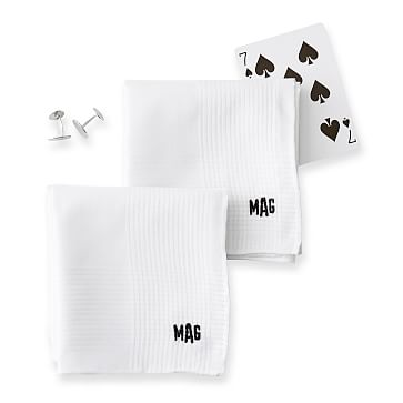 Luxe Hand Rolled Handkerchief, Set of 2, White