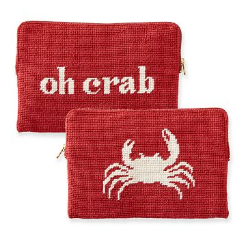Needlepoint Zip Pouch, Red, Oh Crab