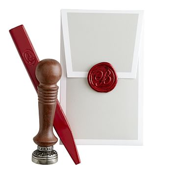 Initial Wax Seal with Bright Red Wax, G