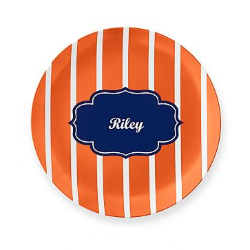 Personalized Melamine Plate, Vertical Stripes, Orange and Blue