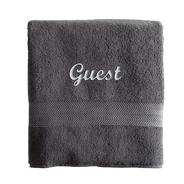 Turkish Hydro Cotton Bath Towel, Steel Gray - Personalized