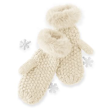 Chunky Knit Mitten with Fur, Ivory
