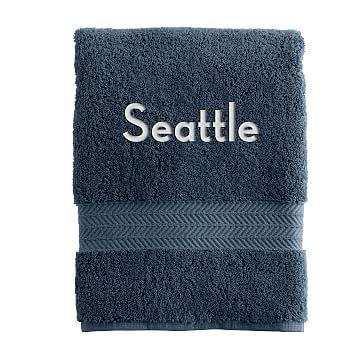 Turkish Hydro Cotton Hand Towel, Porcelain Blue - Personalized