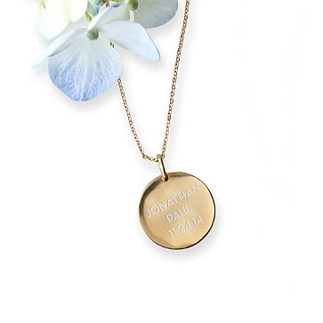 The Legacy Necklace with Charm, 16-18 Inch Chain, Gold Circle, Large 3 Lines, Personalized