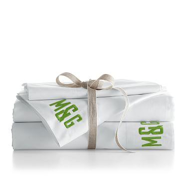 Make Your Mark Soft Sateen Sheet Set, Cal King, White