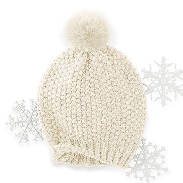 Chunky Knit Beanie with Fur, Ivory