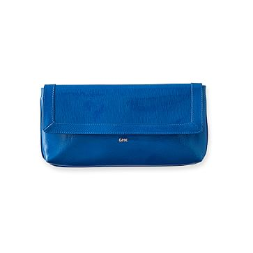 Perfect Patent Leather Clutch, Cobalt