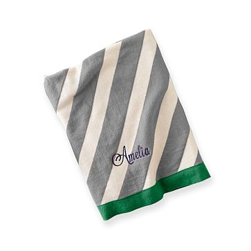 Striped Stroller Blanket, Striped, Gray and Green