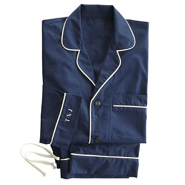 Classic Woven Men's Pajamas, Navy with Ivory, Large