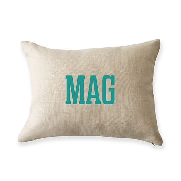 Monogrammed Graphic Linen Pillow Cover and Pillow Insert, 12x16 Boudoir, Natural