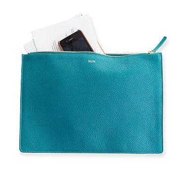 Vivid Zip Pouch, Turquoise