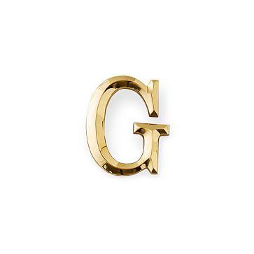 4-inch Initial Door Knocker, Brass, G