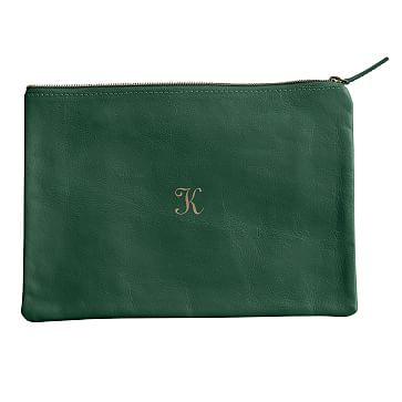 Everyday Leather Zip Pouch, Center Monogram, Emerald Green - Personalized