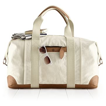 Canvas and Leather Weekender Bag, Natural