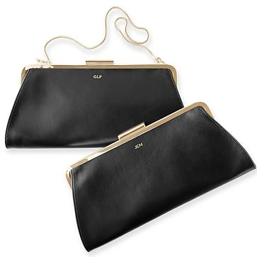 Framed Leather Clutch, Black