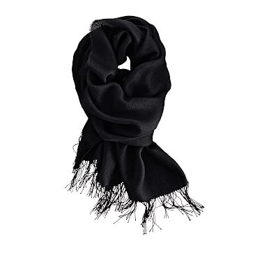 Alpaca and Silk Solid Scarf with Fringe, Black