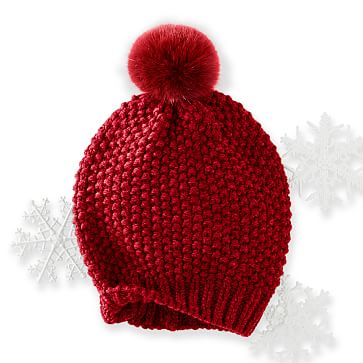 Chunky Knit Beanie with Fur, Red