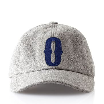Wool Initial Baseball Ball Cap, Gray, O