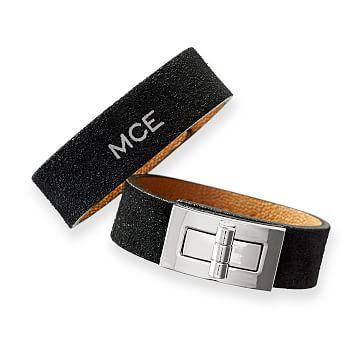Suede Turnlock Bracelet, Black Suede