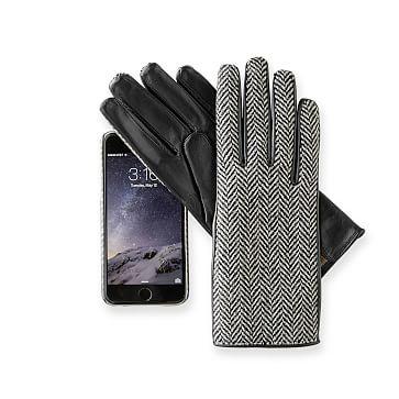 Women's Italian Herringbone Gloves, Black 6.5-Extra Small
