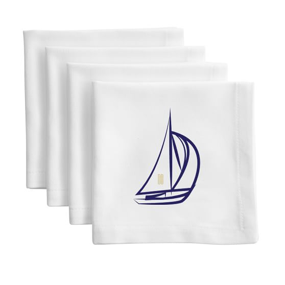 Set of 4 Cocktail Napkins, Hotel, Thick White