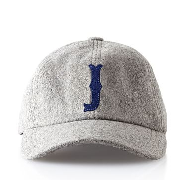 Wool Initial Baseball Ball Cap, Gray, J