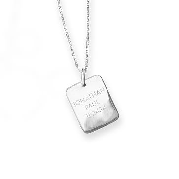 The Legacy Necklace with Charm, 16-18 Inch Chain, Silver Rectangle, Large 3 Lines, Personalized