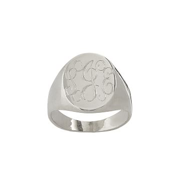 Classic Oval Signet Ring, Size 7, Sterling Silver