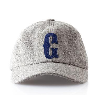 Wool Initial Baseball Ball Cap, Gray, G