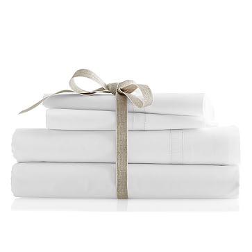Italian Hemstitched Grosgrain Pillow Case Set, King, White