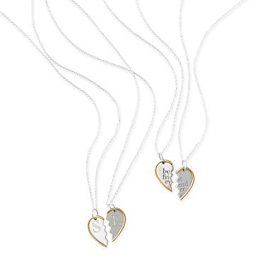 Best Friend Necklace, Heart, Silver and Gold Plate