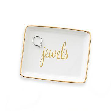 Ceramic Jewelry Tray, Jewels, Gold