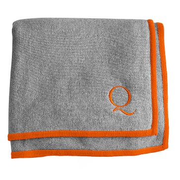 Cashmere Jersey Throw Blanket, Heather Gray with Orange