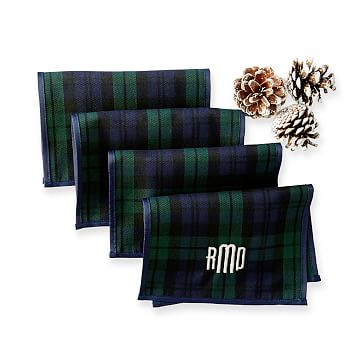 Set of 4 Plaid Typographer's Cocktail Napkins, Navy Watch Plaid