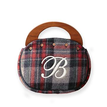 Wool Bermuda Bag, Navy Plaid