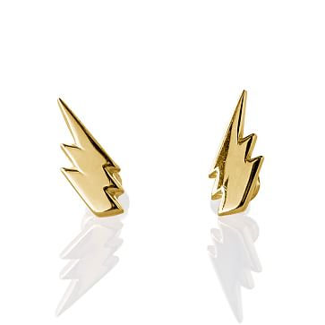 Simple Earring Studs, Lightning Bolts, Gold