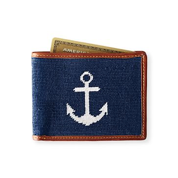Needlepoint Wallet, Anchor, Navy