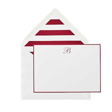 S/50 Letterpress Stationery, Red, Stripe Liner, Monogrammed