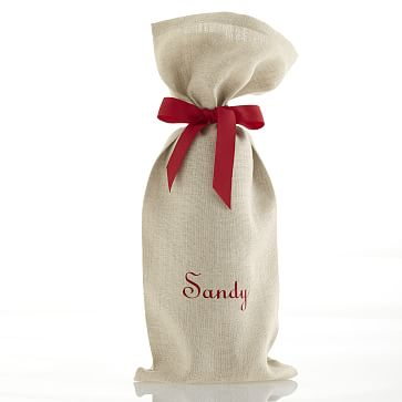 Linen Wine Bag with Grosgrain Tie, Red - Personalized